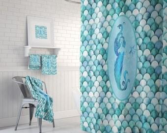 Mermaid Scales  Shower Curtain , Bath Towels , Bath Mat