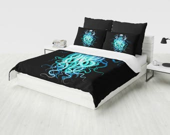Octopus Bedding  Duvet Cover, Black with Blue Octopus King Duvet, Queen Duvet, Twin Duvet (Comforter Option available)