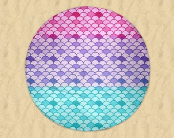 Pastel Mermaid Scales Round Beach Towel  60""