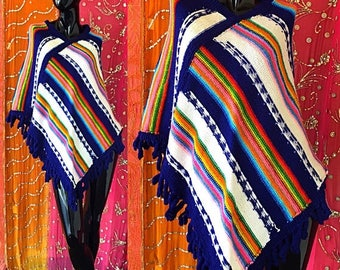 Sale Rainbow Poncho Mexican Poncho Surfer Poncho Vintage 70s Fringe Psychedelic Poncho