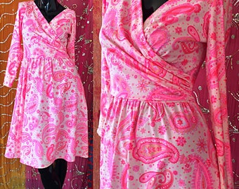Robert David Morton Dress Mod Pink Psychedelic Wrap Dress Vintage 70s Summer Dress