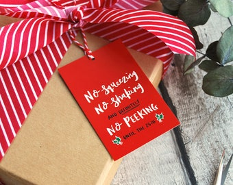 Christmas Gift tags | 4 pack | No squeezing, No shaking and definitely No Peeking!