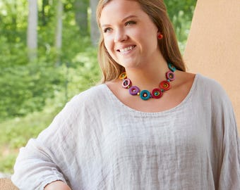 Galassia Tagua Necklace Short – Choker Necklace Eco Friendly Necklace Colombia Sustainable Necklace