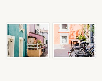"""France Travel Photography, """"Pastel Houses of Trentemoult"""", Set of 2 Fine Art Prints, Gallery Wall, Home Decor, Gift"""