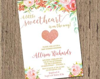 Valentines baby shower invitation, rose gold baby shower heart invitation, a little sweetheart baby shower invite, printable invitation