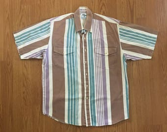 VTG Roper Western Shirt - Medium Mens - Cowboy Shirt - Rockabilly - Vintage Clothing - Short Sleeve Button Up - Snap Button - Striped -
