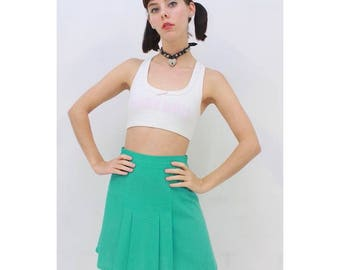 Vintage - 80's - Retro - Aqua - Sport - PREPPY - Athletic - Summer - Pleated - TENNIS - Mini - Skirt - AUS 12 - M - Medium