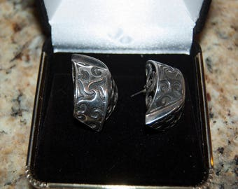Native American sterling silver earrings, 19.4 grams, 1.75 inches long by one inch wide