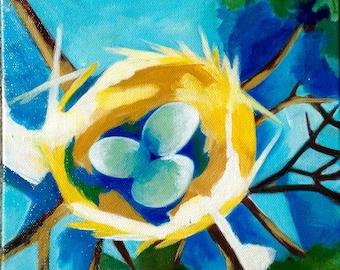 Golden Bird Nest Original Painting Nest of Gold Blue Eggs
