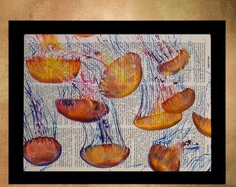 SALE-SHIPS Aug 22- Jellyfish Swarm Dictionary Art Print Orange Marine Life Wall Art Home Decor Octopus Upcycled Book Nursery Art da672