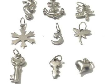 Charms, animal charms, starfish charm, seahorse charms, anchor charm, snowflake charm, dragonfly charm, moon star charm, charm gifts