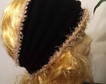 Black headband with decorative thread