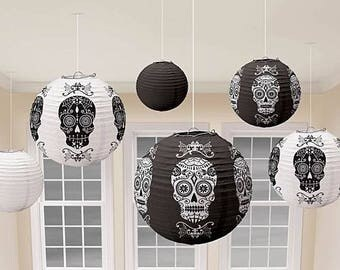 Set Of 6 Day Of The Dead - Black & White Sugar Skull Hanging Paper Lanterns - Halloween Party Decorations