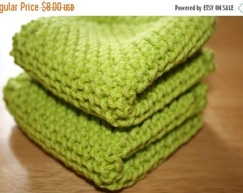 10% OFF SALE Green Knit Dish Cloth, Green Knit Dishcloth, Set of 2
