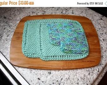 10% OFF SALE Knit Dish Cloth Knit Scrubbie Set, Knitted Dish Cloth Set, Seaspray Purple
