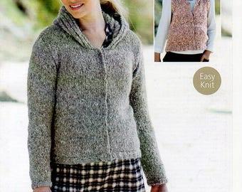 Sirdar Freya Zipped Ladies Girls Jacket & Gilet Knitting Pattern PDF Download