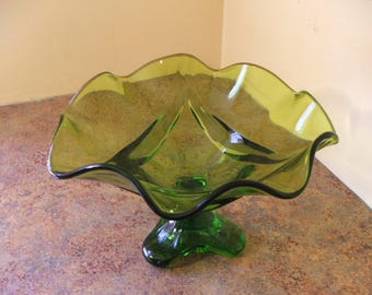 Vintage 1960s Viking Glass Epic Drape Olive Green Glass Tri-Footed Candy Dish / Compote