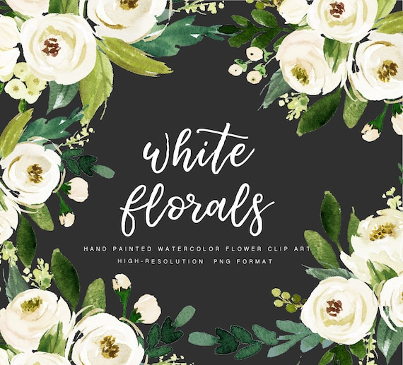 Watercolor floral Clip Art-White Flower/Individual PNG