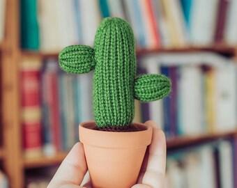 Two Armed Knitted Cactus - Cactus, Knit Cactus, Crochet Cactus, Amigurumi, cactus toy, plush cactus, stuffed cactus, cactus art