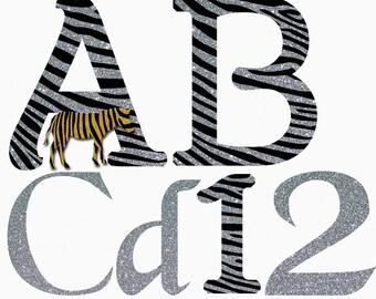 Zebra Inspired Alphabet & Numbers Mega Pack Instant Download Digital Download