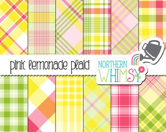 "Summer Plaid Digital Paper - ""Pink Lemonade Plaid"" - pink, yellow, and green tartan scrapbook paper - seamless and diagonal - commercial use"