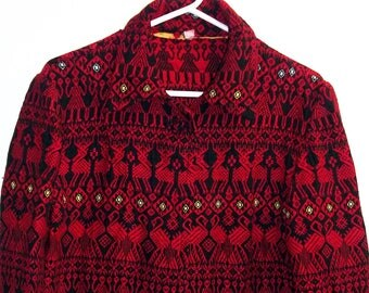 Handwoven Guatemalan Jacket   Beutiful Red  Boho Style  1960's    Crimson Ethnic Jacket