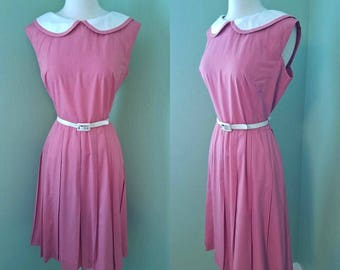 1960s Darling Pink and White Day Dress