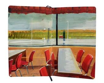 "Fine Art Print of Landscape Painting from Artist Sketchbook – ""Iceland Gas Station"""