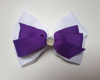 Purple/White Hair Bow with Sparkle Embellishment