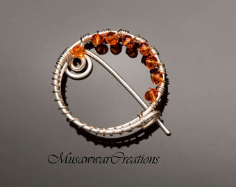 silver shawl pin ,sweater brooch,orange crystal beads shawl pin,