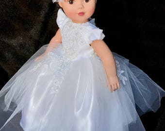 18 in. American Girl Doll 2 piece Wedding Dress and hair bow one of a kind, ONLY ONE