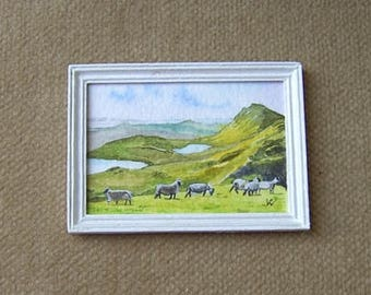 Original dollhouse painting. Miniature watercolour. 1/12 scale. HIGHLAND SHEEP. Artist Pauline Whiteley. Dolls house art. Miniature art.