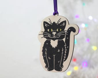 Cat Christmas Bauble, Cat Ornament, Animal Decoration, Cat gift tag, Hanging decoration, Cat Decoration, Plywood Bauble
