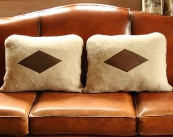 cushions - wool - fabric - beige - Brown