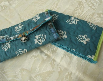 wallet - coin purse and blue quilted fabric checkbook cover