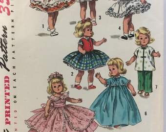 Simplicity 1809, Doll Clothes, 1950 Sewing Pattern, 8 inch Doll, Pinafore, Skirt, Dress, Petticoat, Over Skirt, Robe, Pajamas, Cut, Complete