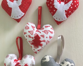 Choice of Christmas tree heart decorations, choose set of 3 or individual,fabric heart christmas decorations,