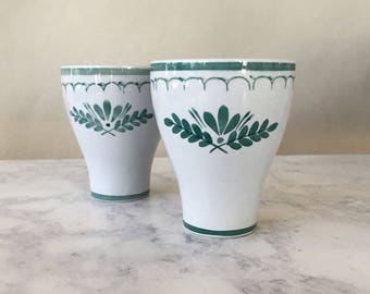 Vintage Arabia Finland Thistle Tumblers, Drinking Glasses, green thistle, green floral dishes, mid century modern pottery, Scandinavian home