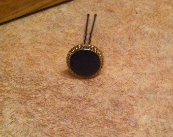 Black and gold button hairpins
