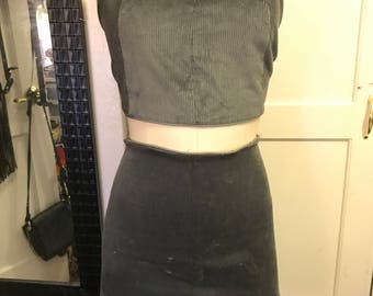 Gray Corduroy Tube Top with Lace Up Back & Mini Curved Hem Skirt