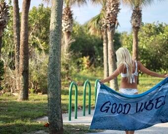 "Good Vibes Beach Blanket/Towel 30""x60"""