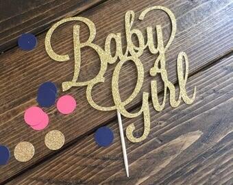 Baby Girl Cake Topper - Its A Girl Cake Topper - Baby Shower Cake Topper - Gold Cake Topper - Baby Shower Decor