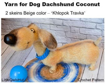 Yarn for Dog Dachshund Coconut- yarn Hlopok (Khlopok) Travka (Хлопок Травка)