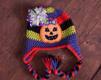 Halloween hat pumpkin hat candy corn hat little girl hat baby girl hat newborn hat newborn photo prop baby photo prop