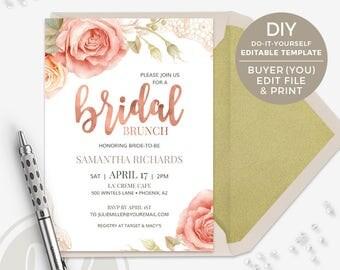 Bridal Brunch Invitation - Pink Rose Bridal Shower Invitation, Instant Download, Rose Gold Bridal Brunch Invite, Printable Invitation