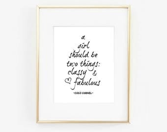 Chanel art print, Chanel quote, Digital Print, Wall Art, Gift, Printable Decor, Download, Instant download