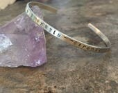 Sterling Silver Personalized Hand Stamped Cuff bracelet