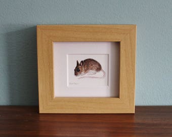 Field Mouse Watercolour Painting - Animal - Framed Giclee print - Nature Art Poster - Picture and gift for the home - Mini Frame
