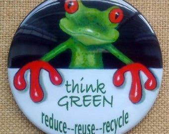 "Think GREEN Magnet 3.5"", Tree Frog, Protect Environment, Kids, Children, Reuse, Recycle, Reduce, Save Planet, Big Fridge Magnet"