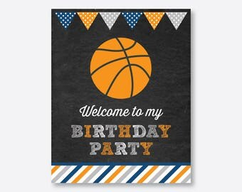 Instant Download Basketball Welcome Sign Basketball Birthday Sign Basketball Door Sign Basketball